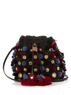 Claudia pompom-embellished raffia bag