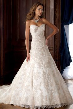 David Tutera for Mon cheri (Petunia) .  Looks like this will be my daughter's choice with the addition of beautiful lace cap sleeves and jeweled belt.