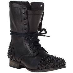 STEVE MADDEN SHOES Tarnney Boot Black/Black Leather ($149) found on Polyvore