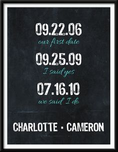 Meaningful Important Dates - Wall Art Print Home Decor 8 x 10 - Personalized Wedding Sign Gift Customizable - Chalkboard Print. $12.00, via Etsy.