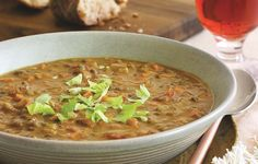 Lentil & Tomato Soup TIP - substitute balsamic vinegar with sherry or red wine vinegar TIP - add spinach leaves about 10 mins before end of cooking
