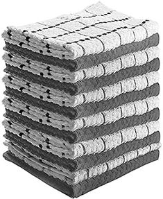 "Amazon.com: Kitchen Towels 12 Pack - Dish Towels and Dish Cloths - Hand Towel and Dishcloths Sets - 100% Soft Ring Spun Combed Cotton - Great for Cooking in Kitchen or Household Cleaning - Size 15"" x 25"" (Gray): Home & Kitchen Buy Kitchen, Kitchen Towels, Kitchen Living, Dish Towels, Hand Towels, Dobby Weave, Hand Towel Sets, Kitchen Styling"
