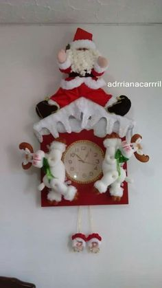 Christmas Clock, Mary Christmas, Christmas Stocking Kits, Felt Christmas Stockings, Blue Christmas, Xmas, Christmas Ornaments, Santa Doll, Snowman Crafts