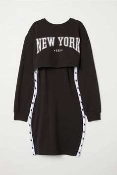 Short, fitted dress in soft jersey with a matching, sewn-in top in sweatshirt fabric. Dress in a narrow cut at the top with short, narrow shoulder straps an Cute Lazy Outfits, Swag Outfits For Girls, Cute Swag Outfits, Girls Fashion Clothes, Edgy Outfits, Teen Fashion Outfits, Retro Outfits, Kpop Clothes, Fashion Top