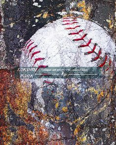 This modern baseball artwork is a photo print and available in different sizes. The photo print is $15.88 and up.