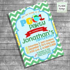 Birthday Pool Party invitation kids pool by myooakboutique etsy store