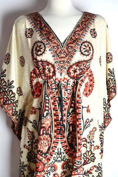 Boho Paisley Caftan Plus Size Beach Pool Cover Up Dress Tunic Summer Handmade Fashion Accessory Dress via Etsy