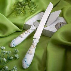 Beach Theme Wedding Knife & Cake Server Set, 1