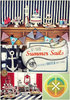 This blog has tons of great ideas about how to throw a nautical-themed party for a variety of ages, and styles.