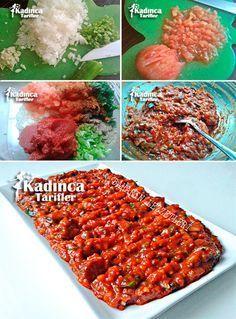 ✿ ❤ ♨ Acılı Ezme Tarifi / Malzemeler: 3 adet olgun domates, 1 adet büyük soğan, 2 adet acı sivri biber, 2 diş sarımsak, 3 yemek kaşığı acı biber salçası, Yarım çay bardağı sıvı yağ, Maydanoz, Acı pul biber, Karabiber, Tuz.