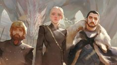 Game of Thrones What a trio: The Mother of Dragons, the King of the North, and the Hand of the Queen