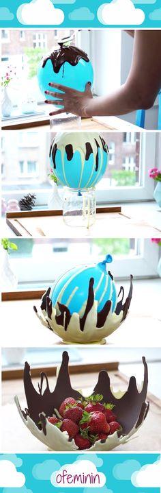 How to make chocolate bowl! <3 #chocolate #czekolada #baloon #ideas #stepbystep #pomysły #słodycze #miska #DIY
