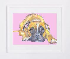 Boxer Dog painting art print, Boxer Dog Portrait, Watercolor Boxer dog painting, Boxer dog puppy, gift idea for Boxer dog… #dogs #etsy #art