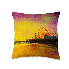 Santa Monica Pier Travel Souvenir Gifts Yellow Purple Santa Monica Pier Digital Art Throw Pillow, 16x16, Multicolor S...