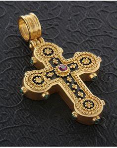 Χειροποίητος Σταυρός χρυσός Κ22 με Ρουμπίνι   Σμαράγδια Vintage Κοσμήματα cf9672ce265