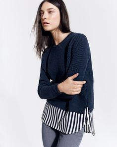 SEP '14 Style Guide: J.Crew women's lambswool shirttail sweater in stripe, and toothpick jean in tinted railroad wash.
