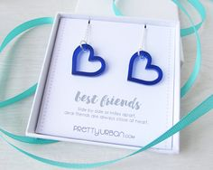 Matching Heart Necklaces – Best Friend Necklaces – BFF Necklaces – Friendship Gift – Best Friend Jewellery for Adults – Laser Cut Acrylic