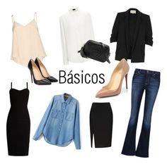 """Basics"" by maria-clara-ribeiro-1 on Polyvore featuring 7 For All Mankind, River Island, MaxMara, Alice + Olivia, Christian Louboutin and Gucci"