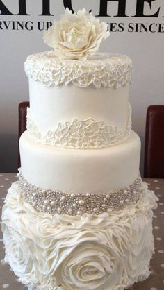 Art Nouveau Inspired Wedding Cake Sapphire silver pearls and