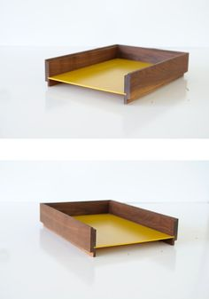 Mid Century WOOD & Yellow Plastic MOD Desk by TheHeartTheHome