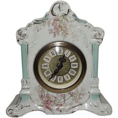 """Miniature Floral Decorated China Case Clock made by """"Mercedes in West from rubylane-sold on Ruby Lane"""