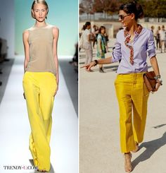 Желтые широкие брюки на модели и Giovanna Battaglia