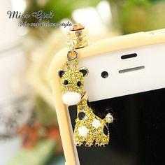 Swarovski Crystal Gift Zoo Giraffe Earphone Anti Dust Cap Plug Fr iPhone Android | eBay $12.49