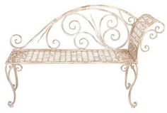Wrought Iron Chaise Lounge Patio Bench White