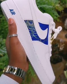 Royal Blue Brocade 🔵✨ ▫Dropping on our website January ▫ Tag a friend that would rock these! Blue Sneakers, Vans Sneakers, Sneakers Fashion, Custom Sneakers, Custom Shoes, Dope Hats, Custom Air Force 1, Sneaker Art, Nike Air Shoes