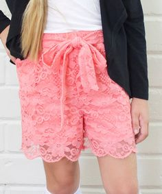 Loving this Coral Scalloped Lace Shorts - Girls on #zulily! #zulilyfinds