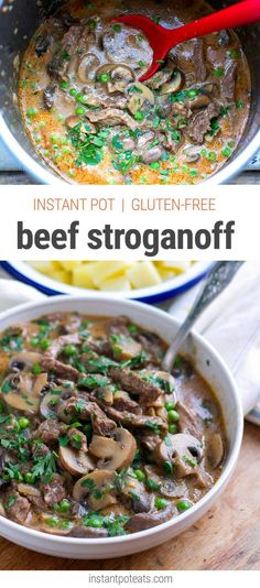 Quick and easy Instant Pot pressure cooker beef stroganoff (gluten-free).