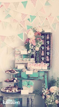 www.kamalion.com.mx - Mesa de Dulces / Candy Bar / Postres / Evento / Menta & Naranja / Mint & Orange / Vintage / Rustic Decor.