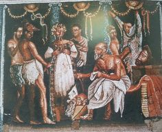 Mosaico  Actores en  los preparativos de una representación, Casa del Poeta Trágico, Pompeya. Museo Archeologico Nazionale, Nápoles