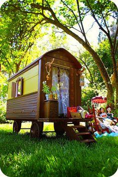 Handmade Miniature Gypsy Caravan/ Wagon Dollhouse~Image © Christine Alvarado, 2009 (Mad Tea Party). #gypsy #caravan