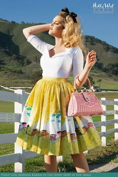 Pinup Couture- Jenny Skirt in Mary Blair Train Border Print | Pinup Girl Clothing