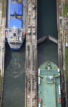 Panama Canal  Aerial overlooking two vessels during manoeuvres in Gatun Locks, Panama Canal