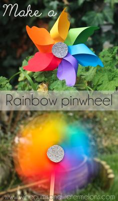 Make a Rainbow pinwheel - Rainbow crafts, food, gifts an Foam Crafts, Crafts To Do, Crafts For Kids, Arts And Crafts, Paper Crafts, Diy Crafts, Craft Foam, Neon Crafts, Foam Sheet Crafts