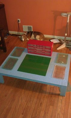 DIY'ed lego play and storage table.  My tyke is too little for legos, but I foresee a need for lego storage in the future