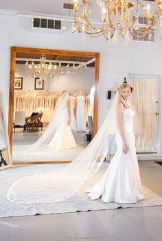 Alencon Lace Ivory Cathedral wedding veil by NicoleMaeLaceVeils