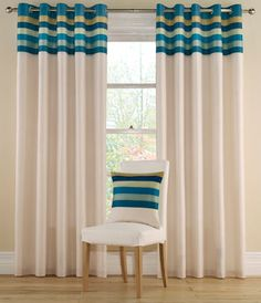 Montgomery Teal 'Tropical Stripe' Lined Curtains With Eyelet Heading- at Debenhams. Teal Curtains, Home Curtains, Lined Curtains, Curtains With Blinds, Tropical Curtains, Valances, Window Coverings, Window Treatments, Made To Measure Curtains