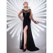 Sheath / Column Scoop Beading Sleeveless Floor-length Chiffon Prom Dresses / Evening Dresses