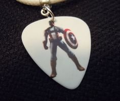 Captain America Guitar Pick and White Rolled Leather Cord by ItsYourPick on Etsy