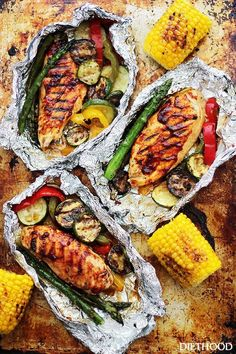 Grilled Barbecue Chicken and Vegetables in Foil by diethood: Tender, flavorful chicken covered in sweet barbecue sauce and cooked on the grill inside foil packs with zucchini, bell peppers and asparagus.