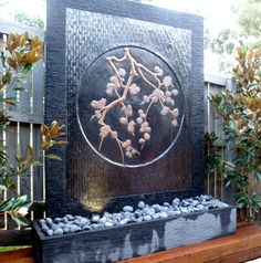 Beautiful Cherry Blossom Water Wall, fountain available at www.waterfeaturesdirect.com.au Water Walls, Copper Wall, Water Features, Cherry Blossom, Natural Stones, Fountain, Frame, Nature, Beautiful