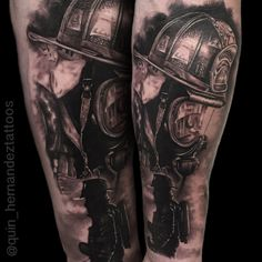 Fireman Tattoo by Joaquin Hernandez. Dallas Texas.