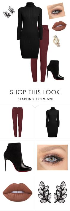 """""""rehearsal dinner tomorrow night"""" by vireheart ❤ liked on Polyvore featuring Paige Denim, Rumour London, Christian Louboutin, Lime Crime, Kenneth Jay Lane and Shinola"""