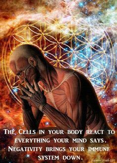 Cells react to everything your mind says.. Negativity brings down your immune system.........   Read more -- http://enlightened-consciousness.com/home/2013/12/scientific-study-cells-respond-our-thoughts/