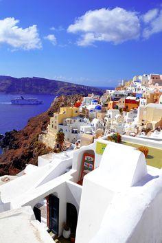 the view in Oia, Santorini, Greece