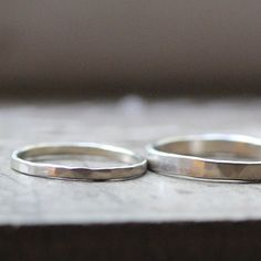 Primitive Hammered White Gold Wedding Band Set by tinahdeeToo, $460.00