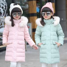 >> Click to Buy << 2016 Fashion Girl Down jackets coats for Winter Parkas fur long model warm Children down Outerwear &Coats baby girl down jacket #Affiliate